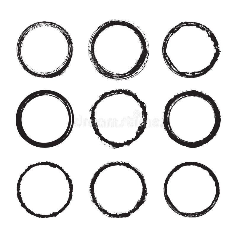 Μαύρο διανυσματικό στρογγυλό πλαίσιο grunge με τις τραχιές άκρες που απομονώνονται στο άσπρο υπόβαθρο ελεύθερη απεικόνιση δικαιώματος