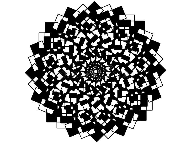 Μαύρο διανυσματικό mandala στο άσπρο υπόβαθρο για τη διακοπή Στοιχείο ντεκόρ mandala Doodle Πρότυπο γραμματοσήμων μωσαϊκών διανυσματική απεικόνιση