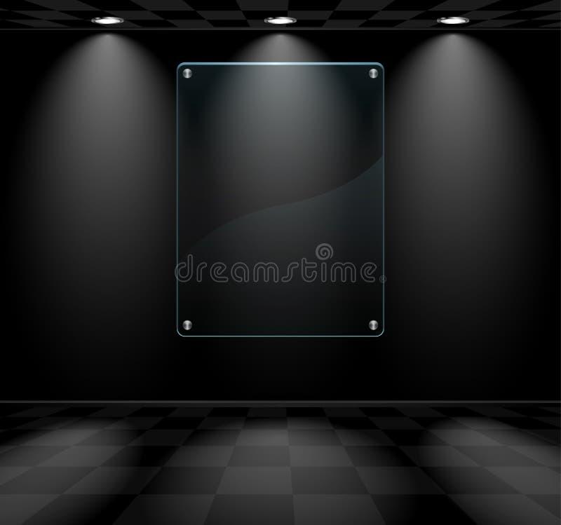 Μαύρο δωμάτιο με placeholder γυαλιού απεικόνιση αποθεμάτων