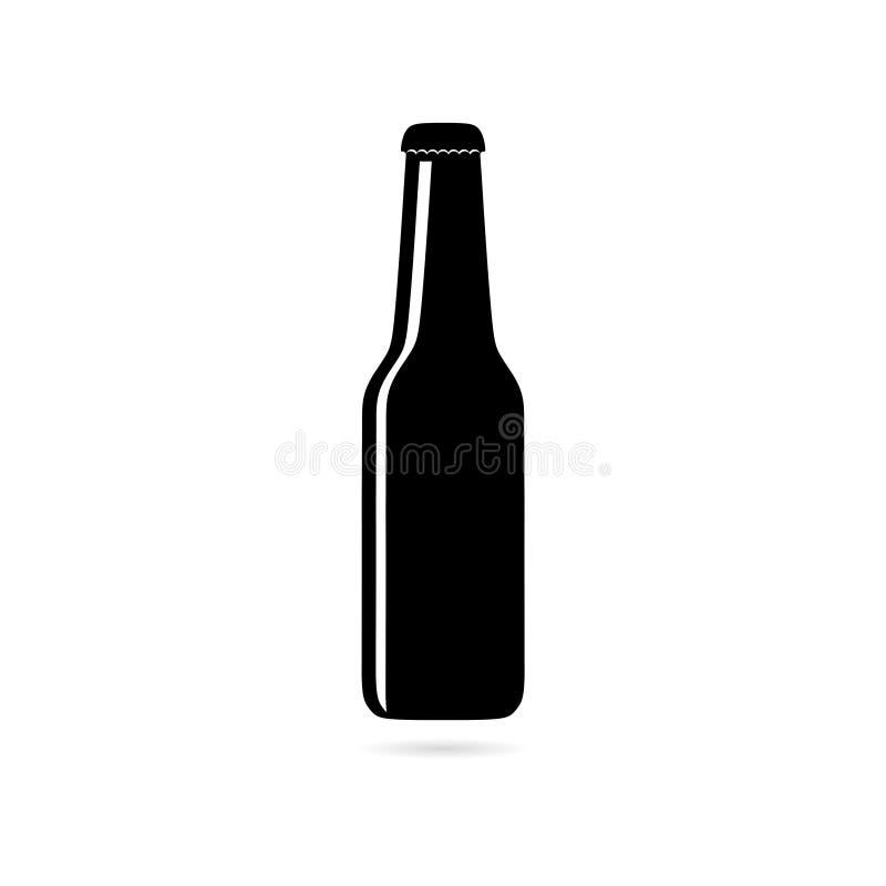 Μαύρο εικονίδιο ή λογότυπο γυαλιού μπουκαλιών μπύρας που απομονώνεται στο άσπρο υπόβαθρο απεικόνιση αποθεμάτων