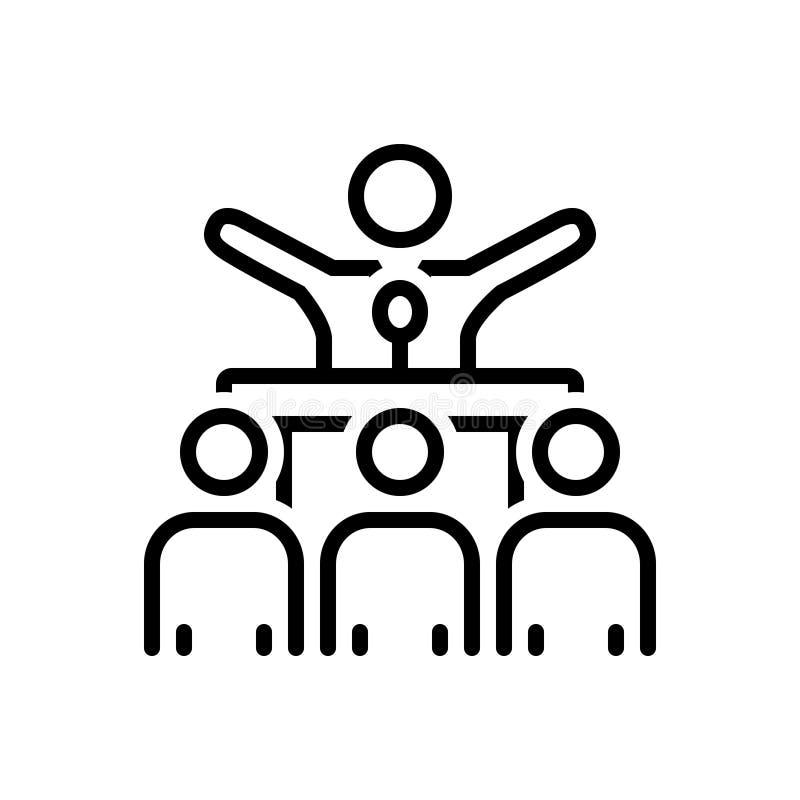 Μαύρο εικονίδιο γραμμών για να κάνει εκστρατεία, την ψηφοφορία και το μέλος απεικόνιση αποθεμάτων