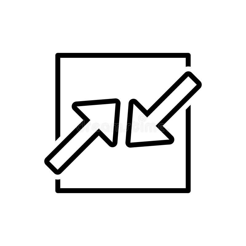 Μαύρο εικονίδιο γραμμών για τα ανταγωνιστικά ενδιαφέροντα, σύγκρουση και λοξά ελεύθερη απεικόνιση δικαιώματος