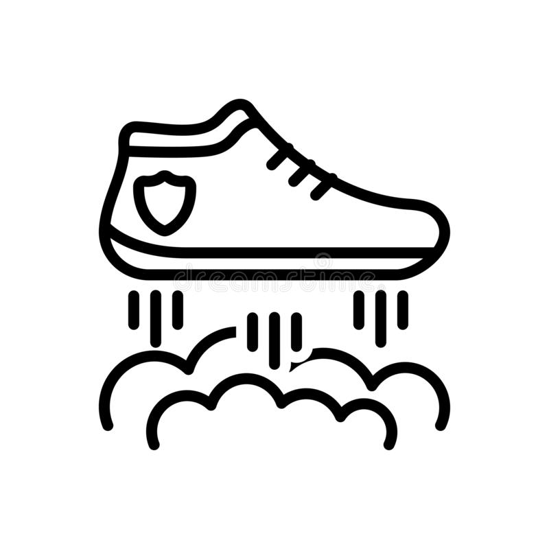 Μαύρο εικονίδιο γραμμών για τα πετώντας παπούτσια, τον αγώνα και τα παπούτσια ελεύθερη απεικόνιση δικαιώματος