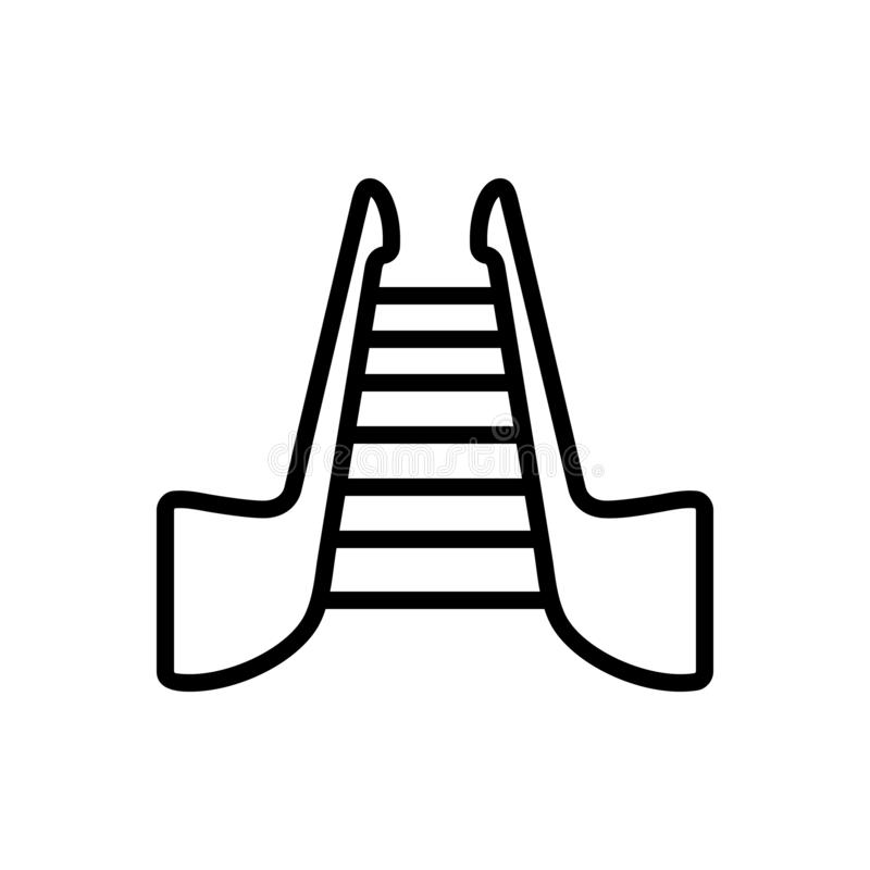 Μαύρο εικονίδιο γραμμών για τα σκαλοπάτια, stepladder και την κυλιόμενη σκά απεικόνιση αποθεμάτων