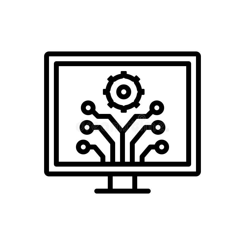 Μαύρο εικονίδιο γραμμών για την ανάπτυξη, την καινοτομία και την πρόοδο ελεύθερη απεικόνιση δικαιώματος