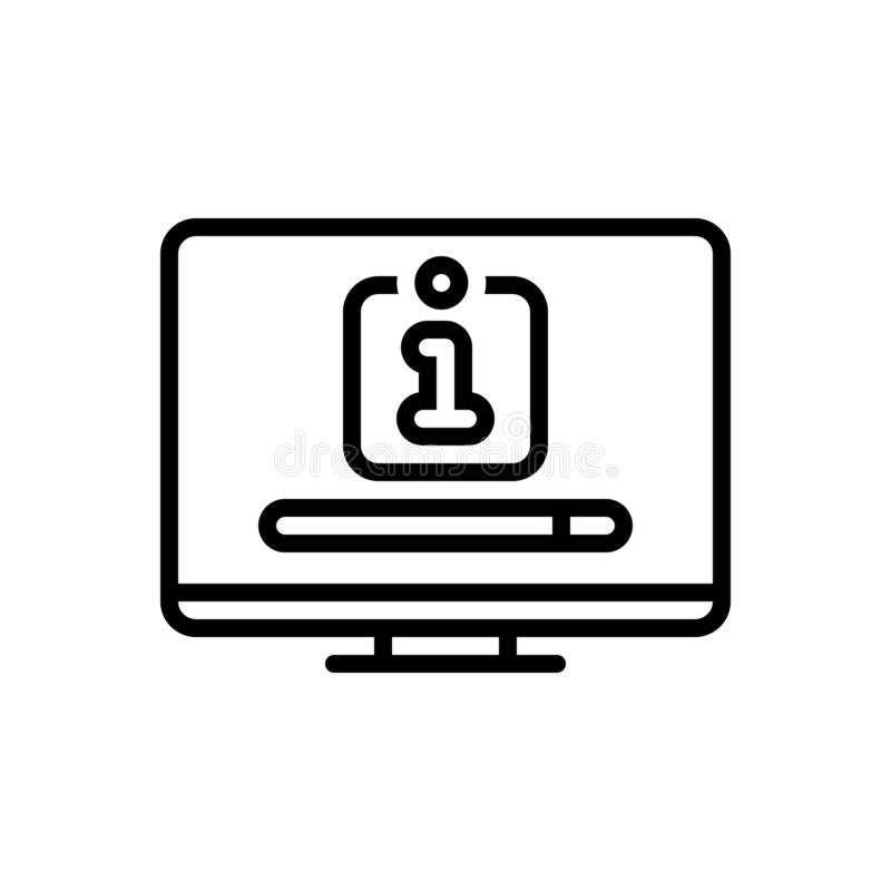 Μαύρο εικονίδιο γραμμών για την αναζήτηση, τη συσκευή και τη μηχανή αναζήτησης πληροφοριών απεικόνιση αποθεμάτων