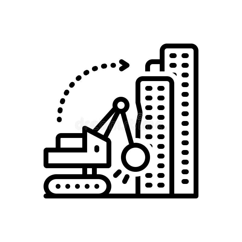 Μαύρο εικονίδιο γραμμών για την αποσυναρμολόγηση, την οικοδόμηση και την κατεδάφιση ελεύθερη απεικόνιση δικαιώματος