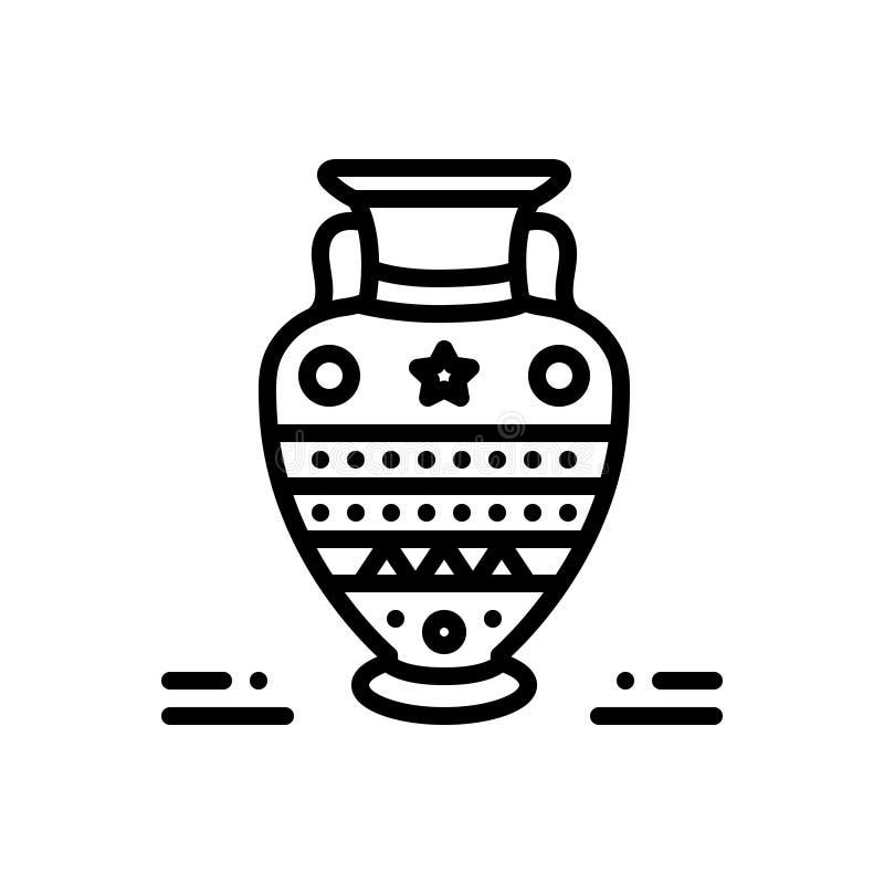 Μαύρο εικονίδιο γραμμών για την αρχαιότητα, αρχαίος και παλαιός διανυσματική απεικόνιση
