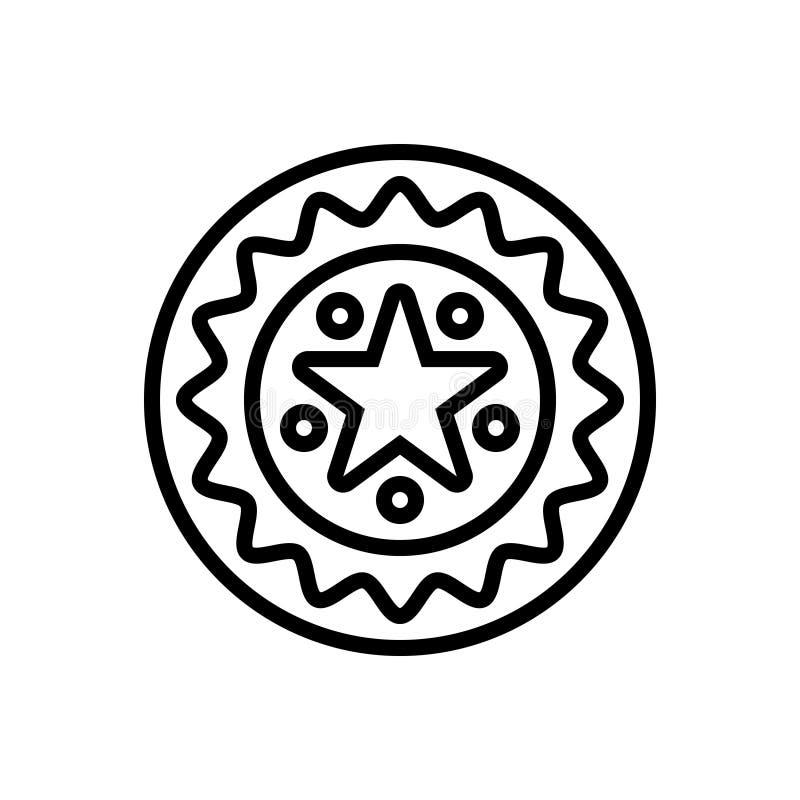 Μαύρο εικονίδιο γραμμών για την εγγύηση, την εξουσιοδότηση και το γραμματόσημο απεικόνιση αποθεμάτων