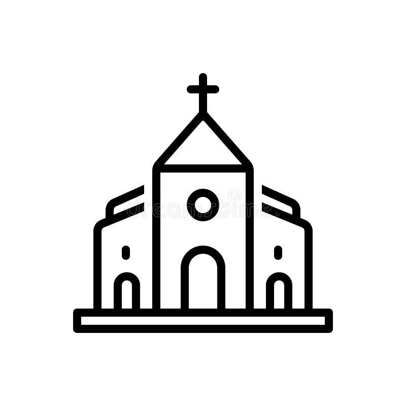 Μαύρο εικονίδιο γραμμών για την εκκλησία, την πεποίθηση και τη Βίβλο απεικόνιση αποθεμάτων