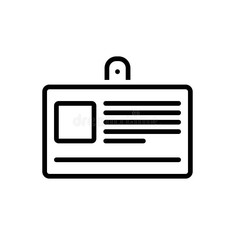 Μαύρο εικονίδιο γραμμών για την κάρτα, τη δυνατότητα πρόσβασης και τον προσδιορισμό ταυτότητας απεικόνιση αποθεμάτων