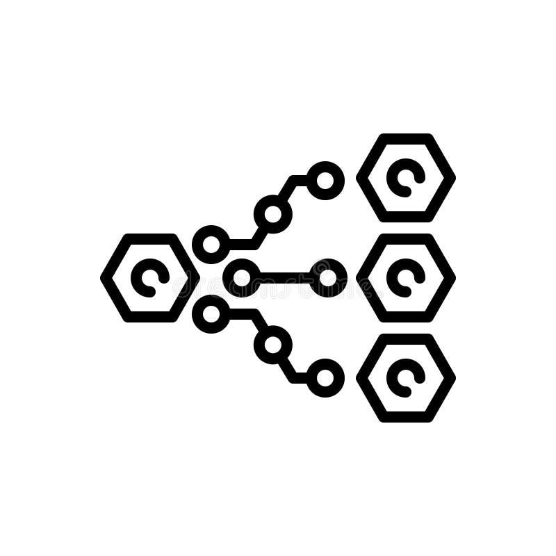 Μαύρο εικονίδιο γραμμών για την οργάνωση, την επιχείρηση και τη διαχείριση απεικόνιση αποθεμάτων