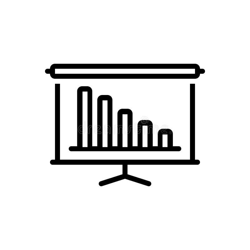Μαύρο εικονίδιο γραμμών για την παρουσίαση, την επίδειξη και την απελευθέρωση διανυσματική απεικόνιση