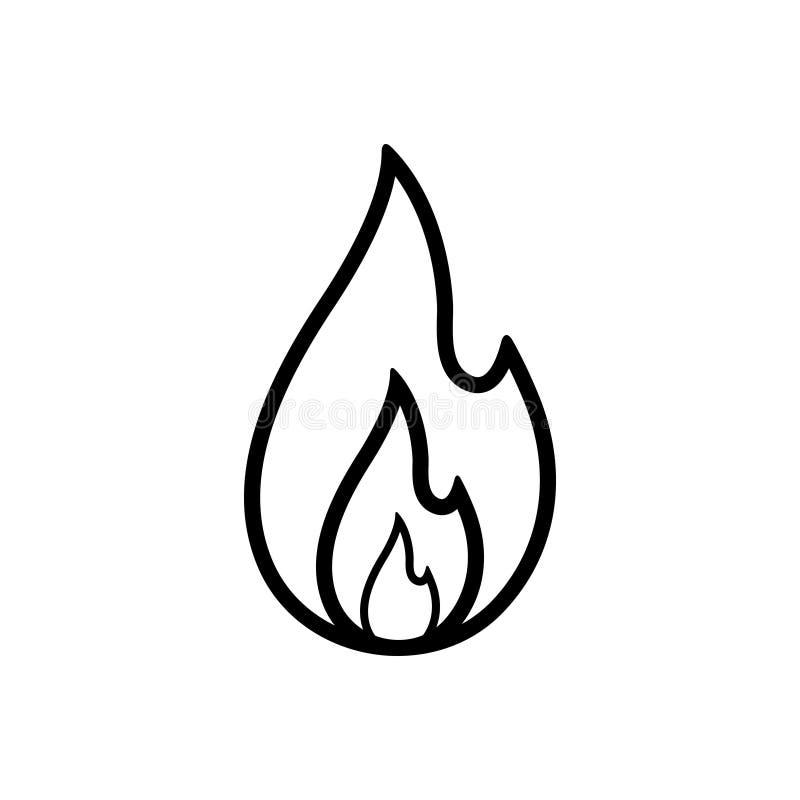 Μαύρο εικονίδιο γραμμών για την πυρκαγιά, έγκαυμα και καυτός διανυσματική απεικόνιση