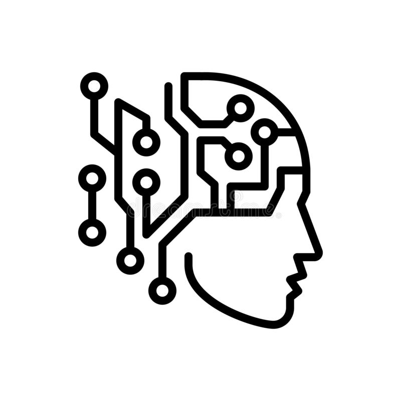 Μαύρο εικονίδιο γραμμών για την τεχνητή νοημοσύνη, τεχνητός και το τσιπ διανυσματική απεικόνιση