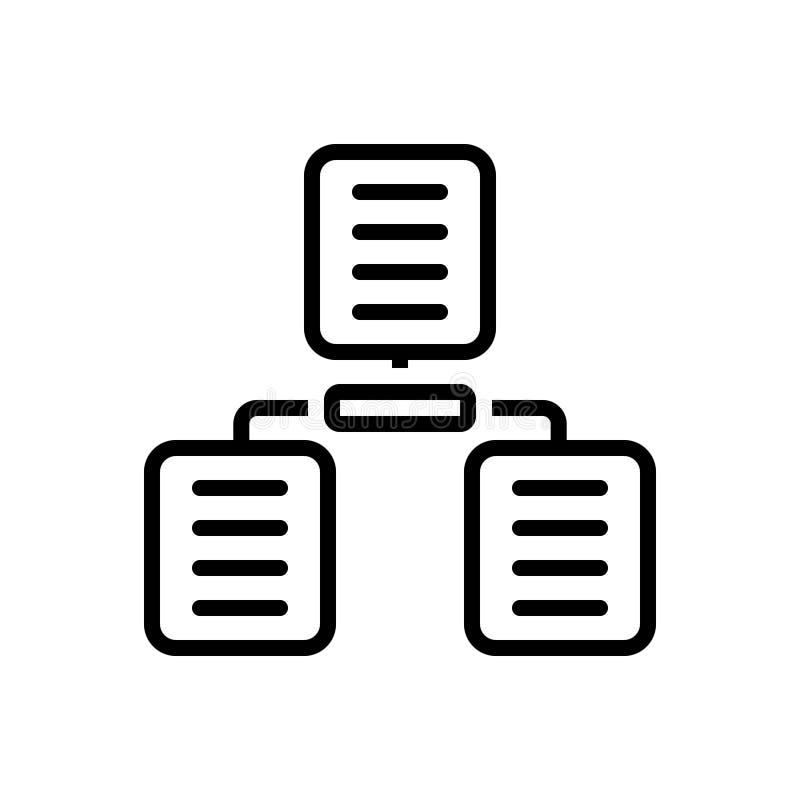 Μαύρο εικονίδιο γραμμών για τη διανομή των αρχείων, τη διανομή και τα αρχεία απεικόνιση αποθεμάτων