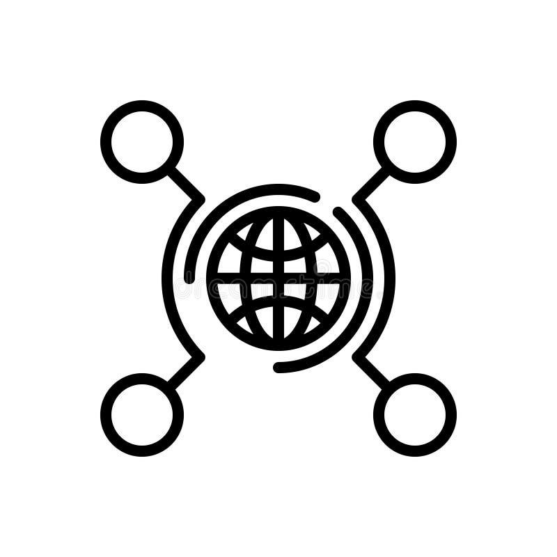Μαύρο εικονίδιο γραμμών για τη δικτύωση, τεχνολογία και ψηφιακός ελεύθερη απεικόνιση δικαιώματος