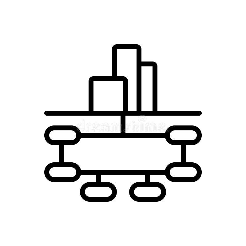Μαύρο εικονίδιο γραμμών για τη δομή επιχείρησης, την επιχείρηση και συνεργασία ελεύθερη απεικόνιση δικαιώματος
