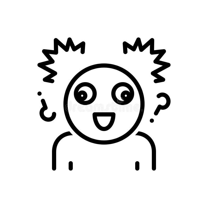 Μαύρο εικονίδιο γραμμών για τη μανία, τον παροξυσμό και την τρέλα απεικόνιση αποθεμάτων