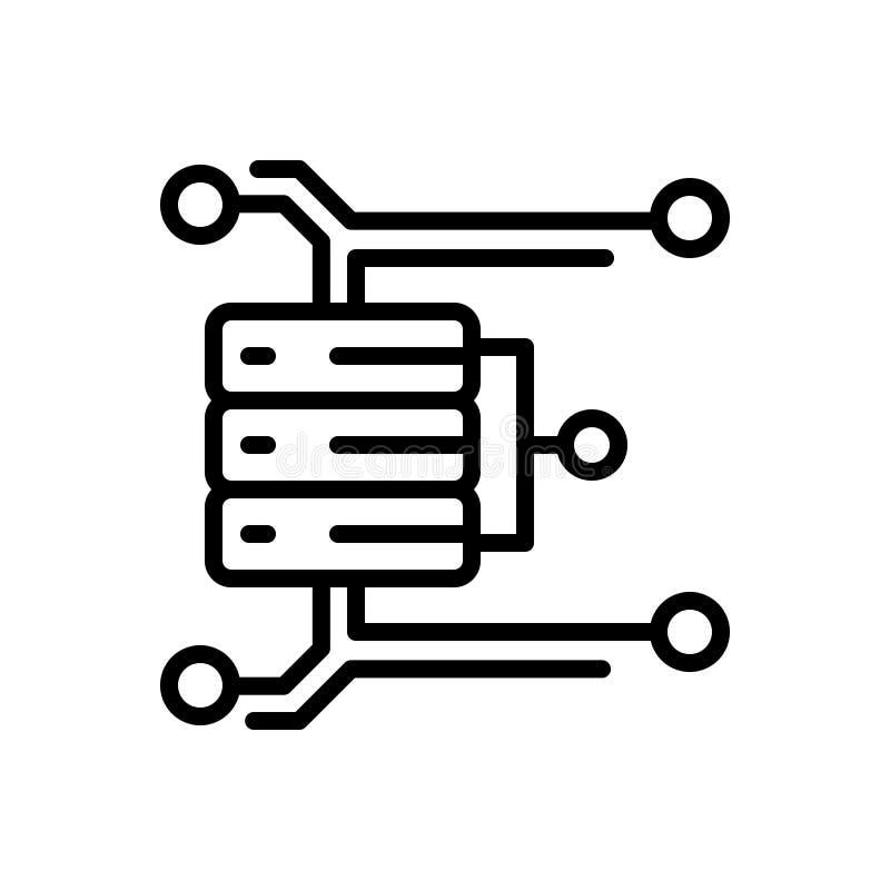 Μαύρο εικονίδιο γραμμών για τη μεγάλη ανάλυση στοιχείων, την τεχνολογ απεικόνιση αποθεμάτων