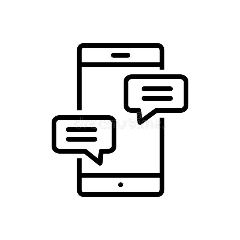 Μαύρο εικονίδιο γραμμών για τη συνομιλία, τη συνομιλία και το κουτσομπολιό ελεύθερη απεικόνιση δικαιώματος