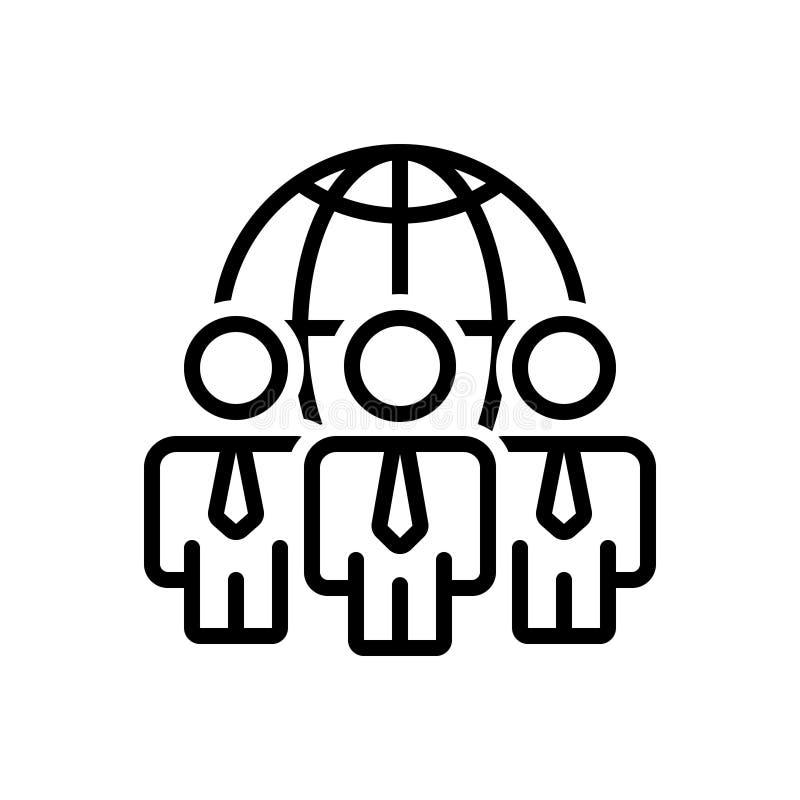 Μαύρο εικονίδιο γραμμών για τη σφαιρικές διαχείριση, τη διοίκηση και την αρχή ελεύθερη απεικόνιση δικαιώματος