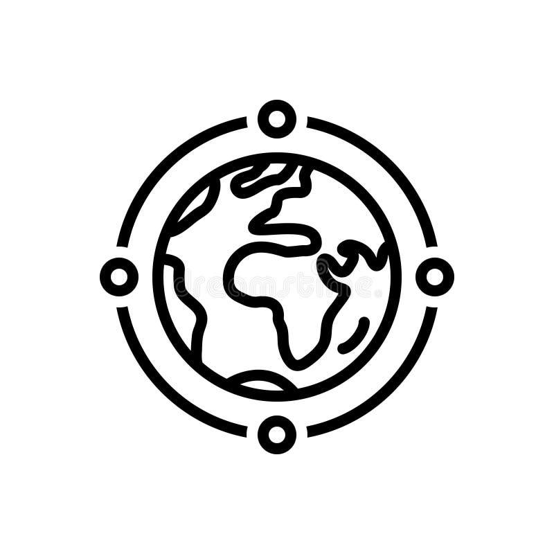Μαύρο εικονίδιο γραμμών για τη σύνδεση, το χάρτη και τον κόσμο σφαιρών απεικόνιση αποθεμάτων