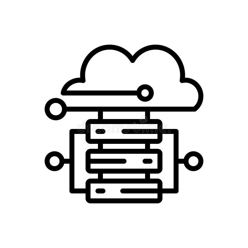Μαύρο εικονίδιο γραμμών για τη φιλοξενία σύννεφων, το σύννεφο και την  διανυσματική απεικόνιση