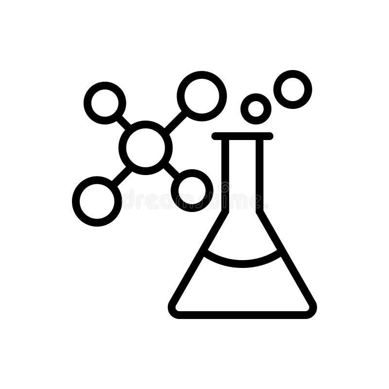 Μαύρο εικονίδιο γραμμών για τη χημεία, ατομικός και χημικός απεικόνιση αποθεμάτων