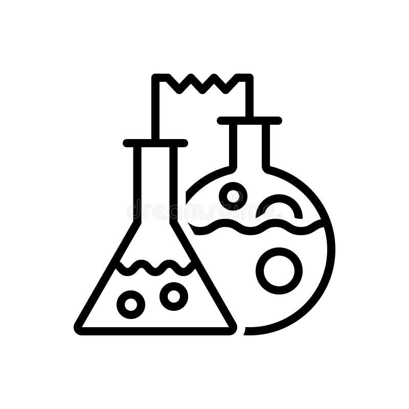 Μαύρο εικονίδιο γραμμών για τη χημεία, την παθολογία και το εργαστήριο απεικόνιση αποθεμάτων