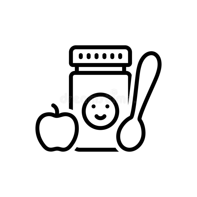 Μαύρο εικονίδιο γραμμών για τις παιδικές τροφές, εδώδιμος και το γεύμα απεικόνιση αποθεμάτων