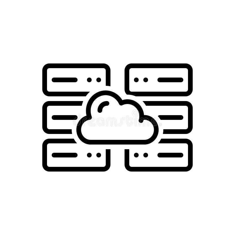 Μαύρο εικονίδιο γραμμών για τον κεντρικό υπολογιστή, τον υπολογισμό και τα στοιχεία σύννεφων ελεύθερη απεικόνιση δικαιώματος