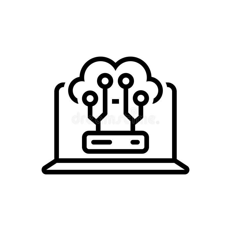 Μαύρο εικονίδιο γραμμών για τον υπολογισμό, τον κεντρικό υπολογιστή και την τεχνολογία σύννεφων απεικόνιση αποθεμάτων