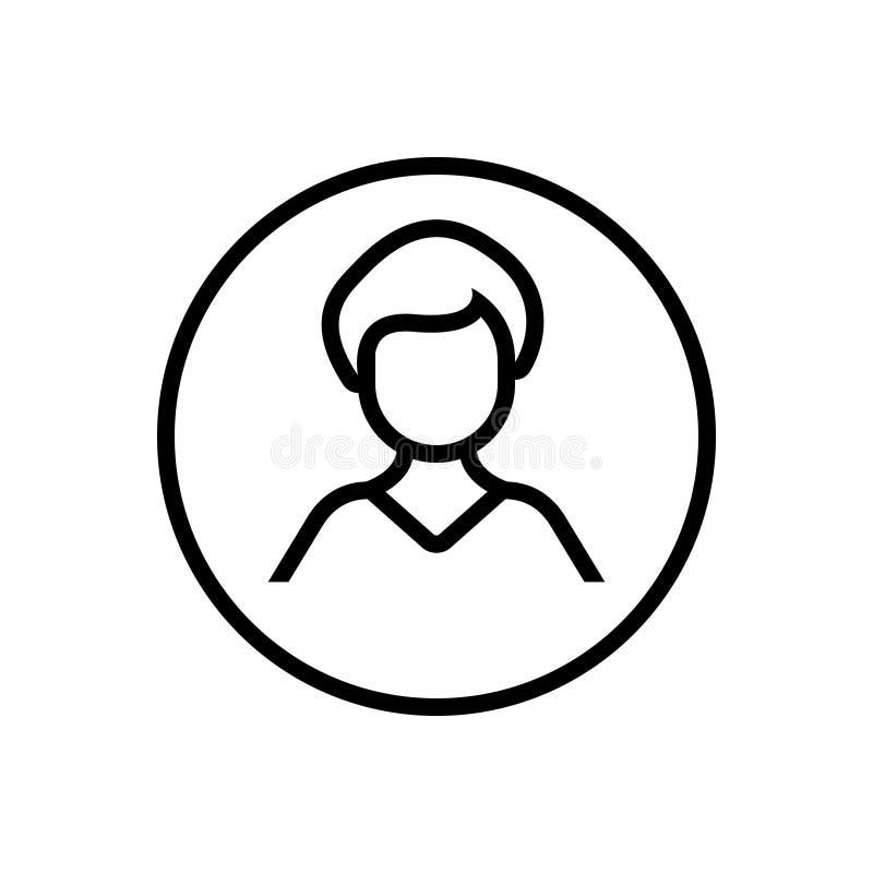 Μαύρο εικονίδιο γραμμών για τους χρήστες, τους πελάτες και τους ανθρώπ διανυσματική απεικόνιση