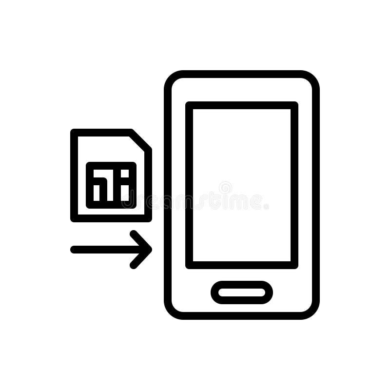 Μαύρο εικονίδιο γραμμών για το ένθετο, το τηλέφωνο και την κάρτα απεικόνιση αποθεμάτων