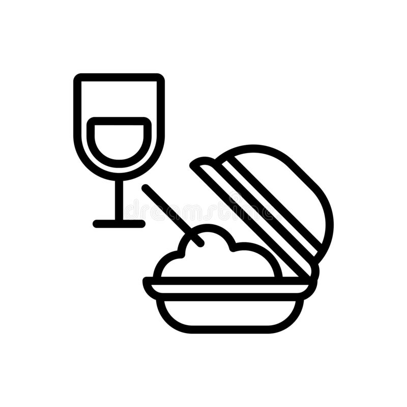 Μαύρο εικονίδιο γραμμών για το γεύμα, τα τρόφιμα και το γυαλί απεικόνιση αποθεμάτων