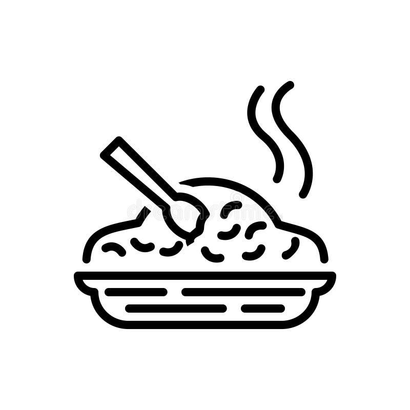 Μαύρο εικονίδιο γραμμών για το γεύμα, τα τρόφιμα και το ρύζι απεικόνιση αποθεμάτων