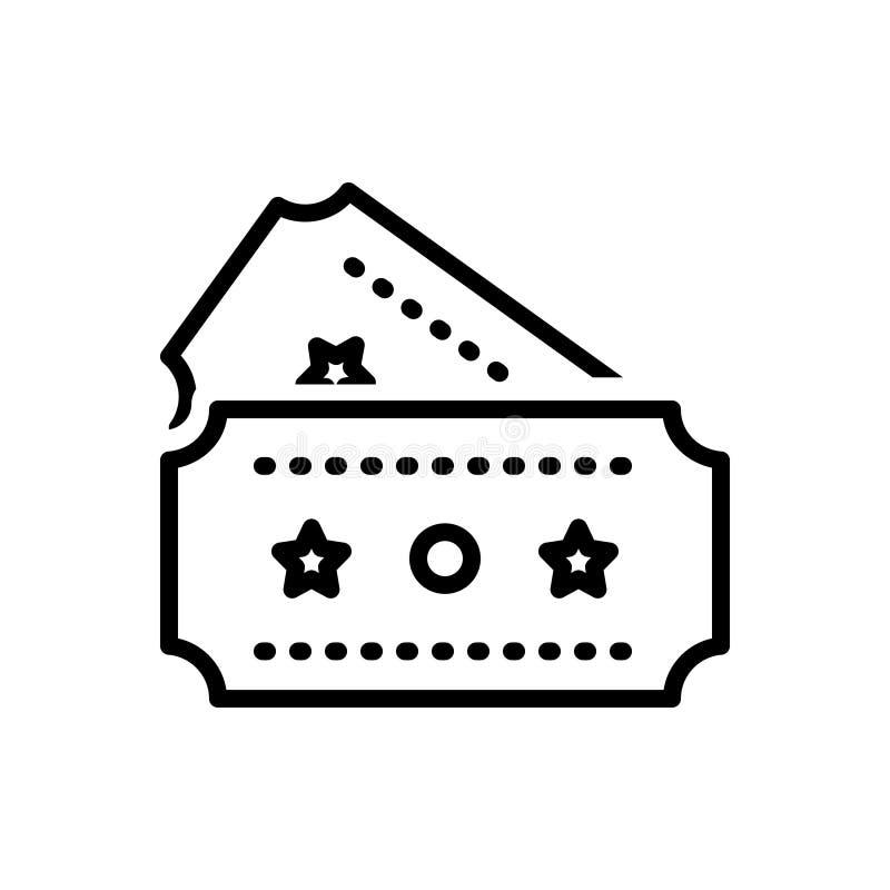 Μαύρο εικονίδιο γραμμών για το εισιτήριο, το νύχι και το πέρασμα διανυσματική απεικόνιση