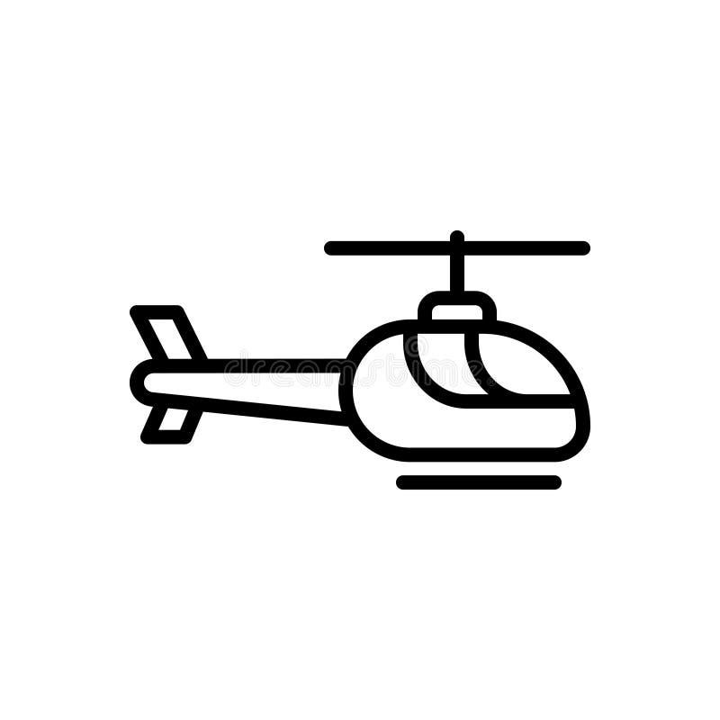Μαύρο εικονίδιο γραμμών για το ελικόπτερο, τον μπαλτά και τη μεταφορά απεικόνιση αποθεμάτων