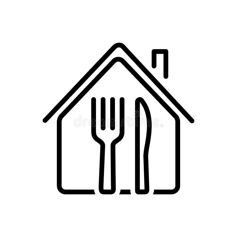 Μαύρο εικονίδιο γραμμών για το εστιατόριο, το κατάστημα και τα τρόφιμα ελεύθερη απεικόνιση δικαιώματος