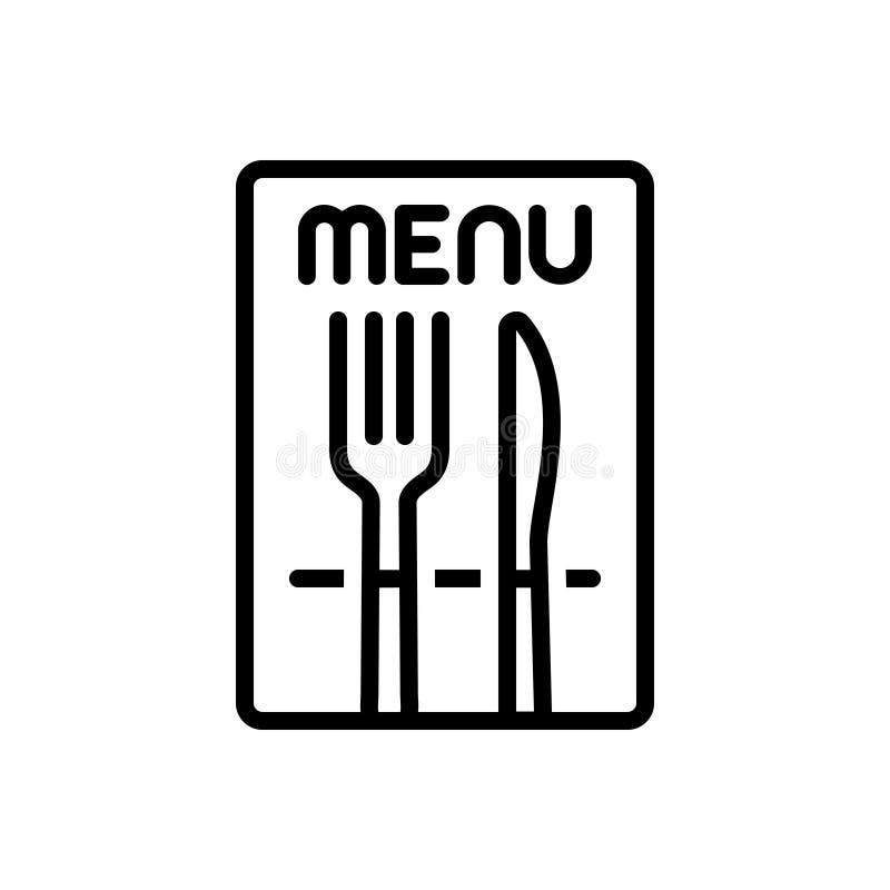 Μαύρο εικονίδιο γραμμών για το εστιατόριο, το κατάστημα και τα τρόφιμα απεικόνιση αποθεμάτων