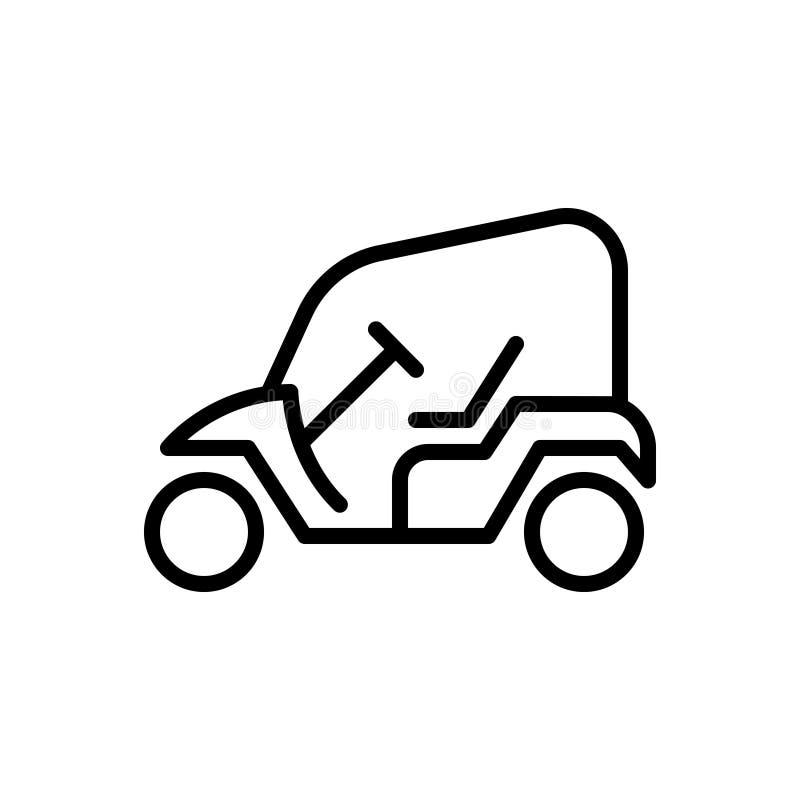 Μαύρο εικονίδιο γραμμών για το κάρρο, που ανοίγουν και το όχημα γκολφ απεικόνιση αποθεμάτων
