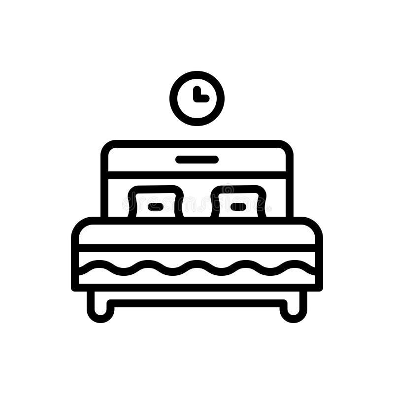 Μαύρο εικονίδιο γραμμών για το κρεβάτι, την κούνια και την κουκέτα ελεύθερη απεικόνιση δικαιώματος