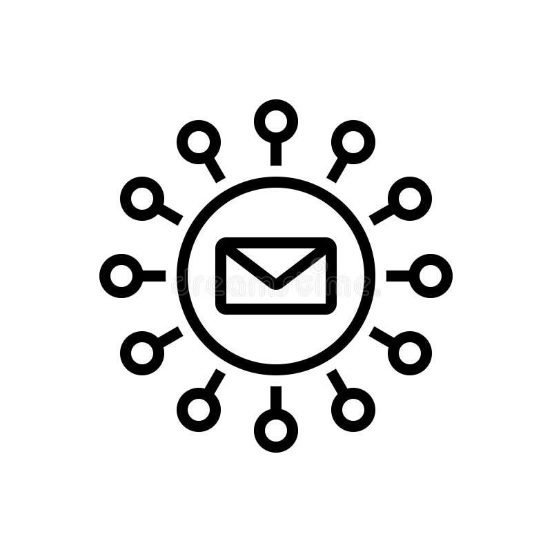 Μαύρο εικονίδιο γραμμών για το μάρκετινγκ, το ενημερωτικό δελτίο και το μάρκετινγκ ηλεκτρονικού ταχυδρομείου απεικόνιση αποθεμάτων