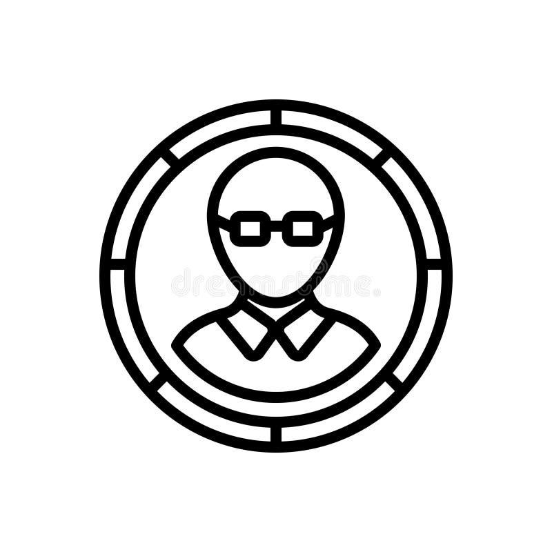 Μαύρο εικονίδιο γραμμών για το μέλος, τους ανθρώπους και την ομάδα απεικόνιση αποθεμάτων