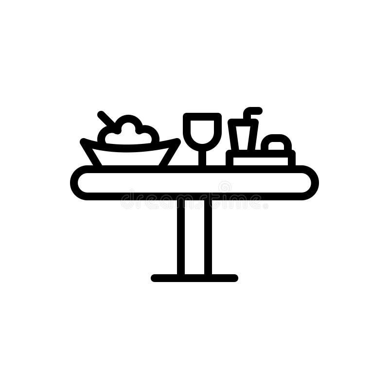 Μαύρο εικονίδιο γραμμών για το μεσημεριανό γεύμα, τα τρόφιμα και το γεύμα απεικόνιση αποθεμάτων