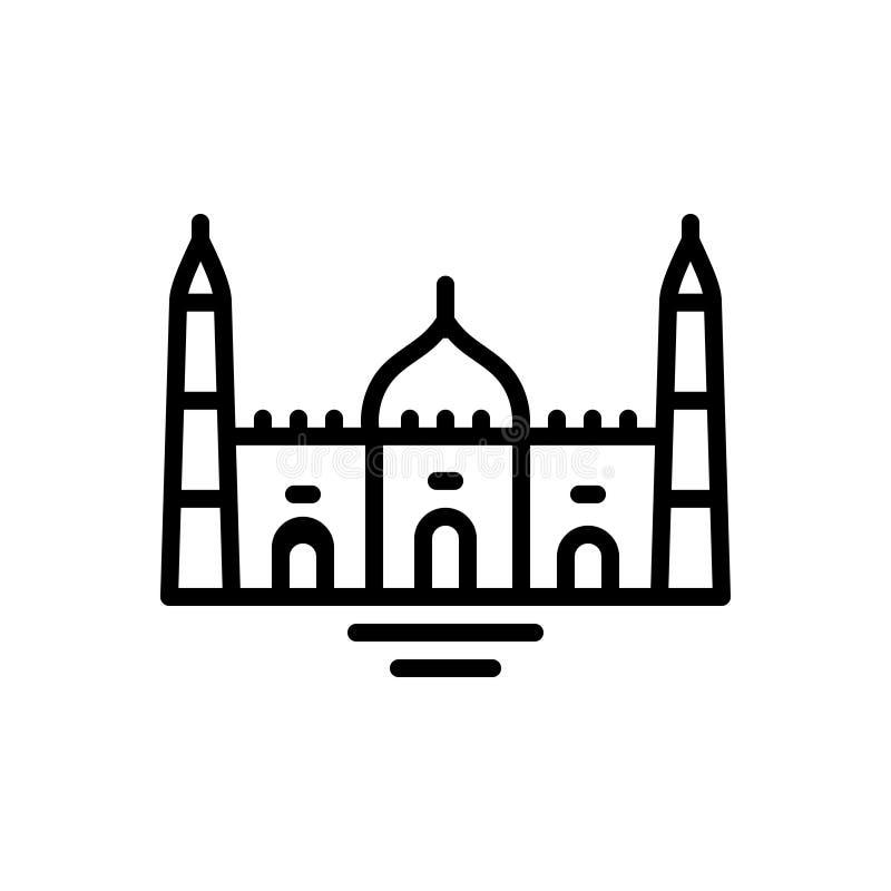 Μαύρο εικονίδιο γραμμών για το μουσουλμανικό τέμενος, την πεποίθηση και την πίστη απεικόνιση αποθεμάτων