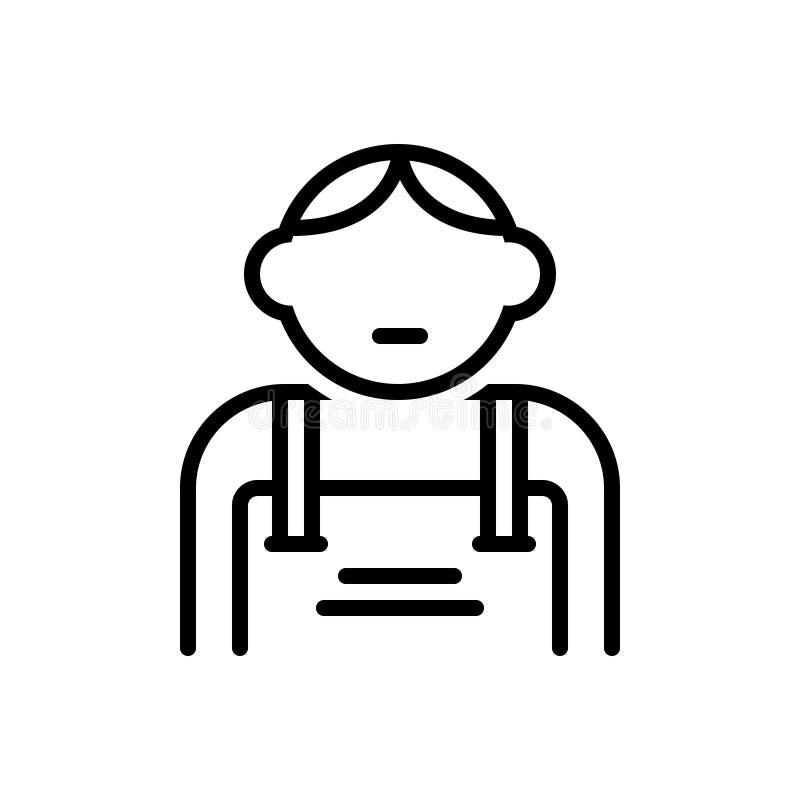 Μαύρο εικονίδιο γραμμών για το παιδί, laddie και youngling απεικόνιση αποθεμάτων
