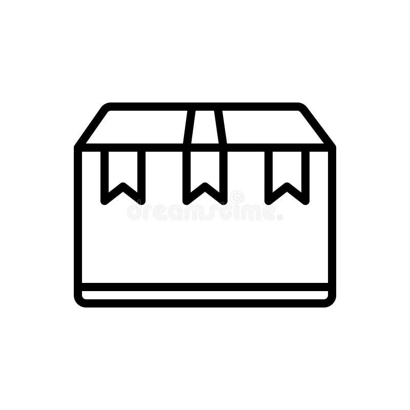 Μαύρο εικονίδιο γραμμών για το πακέτο, τη δέσμη και τον εξοπλισμό απεικόνιση αποθεμάτων