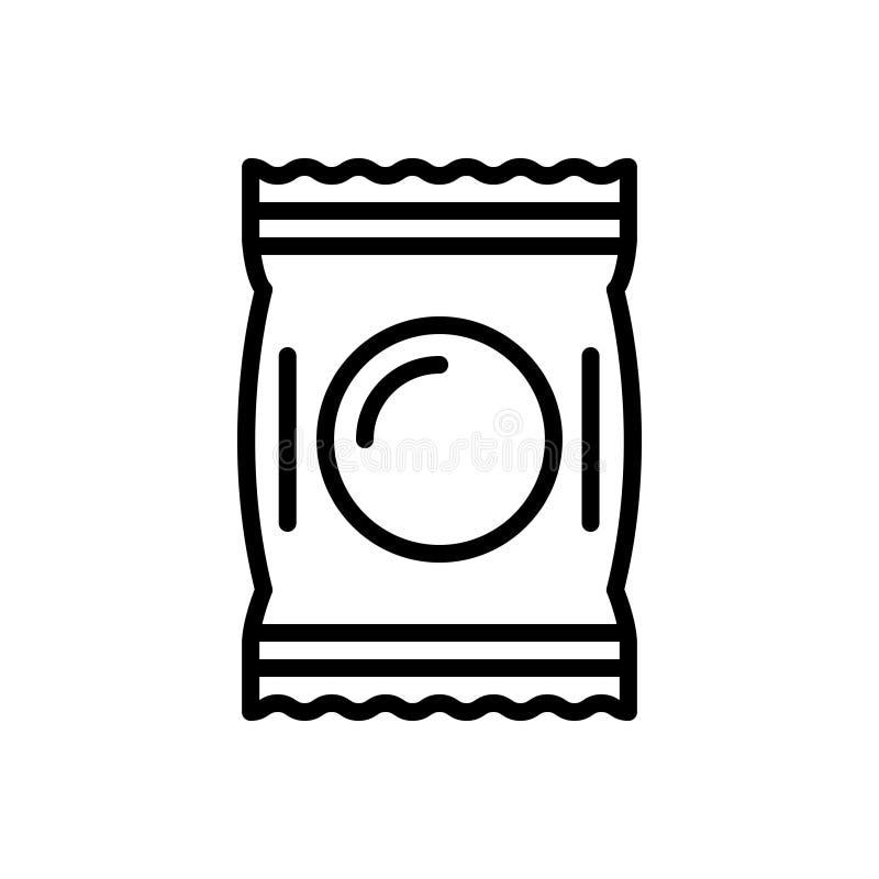 Μαύρο εικονίδιο γραμμών για το πακέτο, τη δέσμη και toffee διανυσματική απεικόνιση